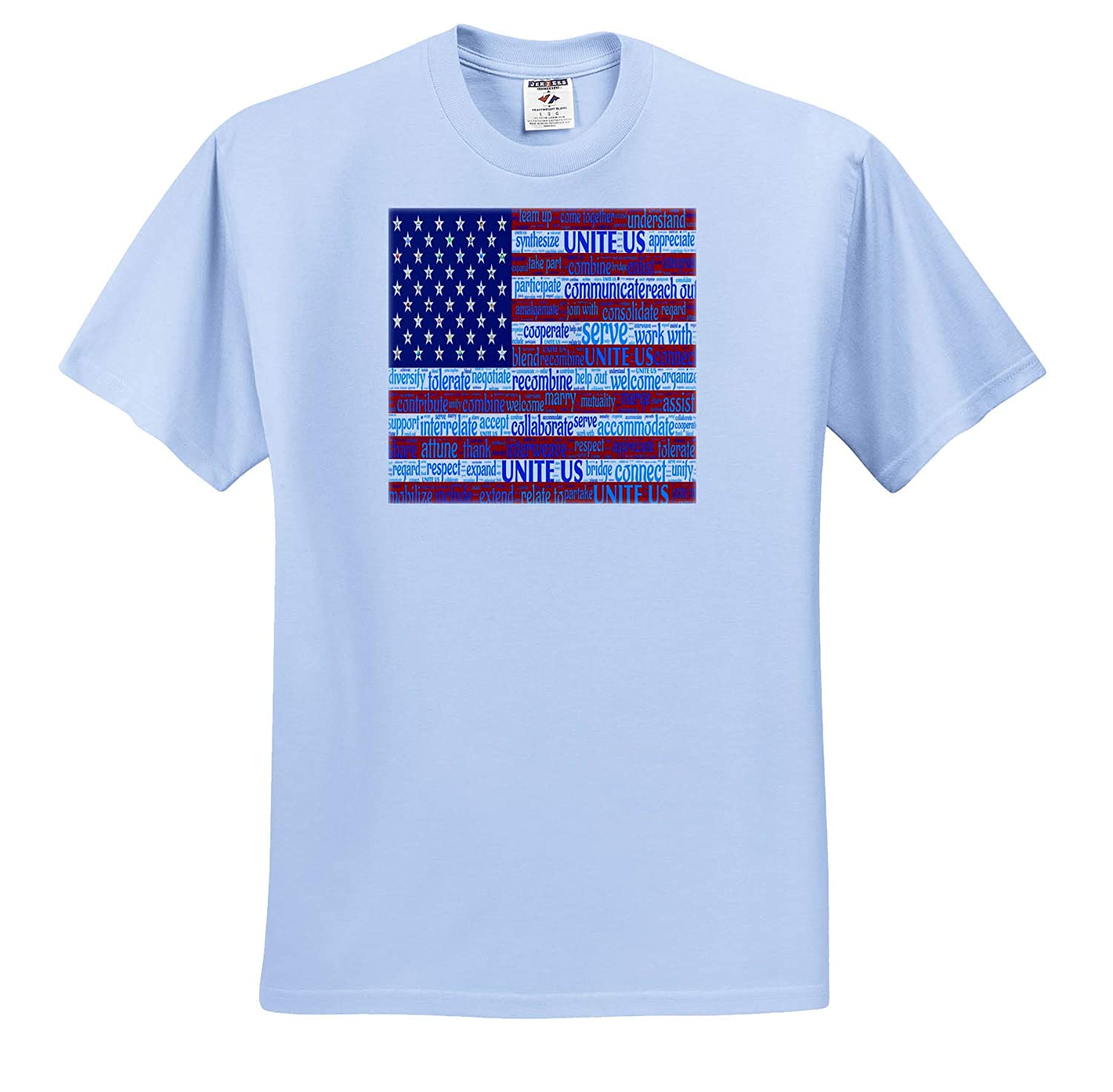Image of American Flag with Inspirational Words ts/_316008 3dRose Lens Art by Florene Politics Adult T-Shirt XL