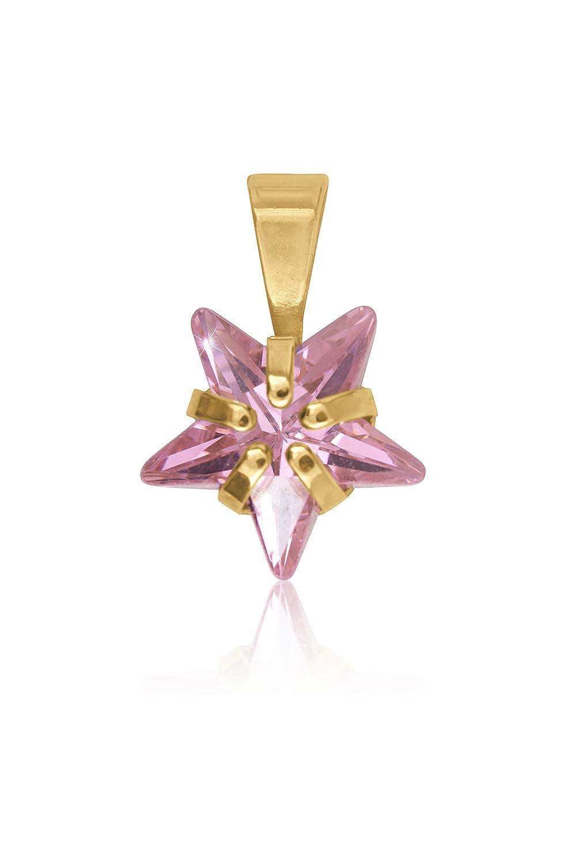 MyGold Stern Anhänger (Ohne Kette) Gelbgold 333/585 Gold (8 Karat/14 Karat) 14mm x 8mm Zirkonia Sternform Sternchen Pink Kettenanhänger Goldanhänger Halskette Rosa Star MOD-03753 V0004181