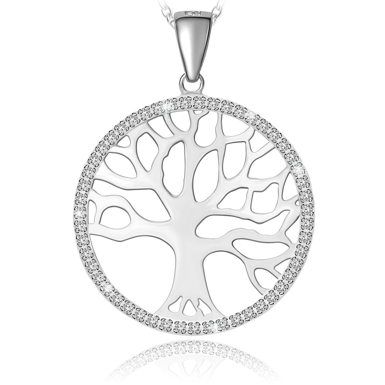 ATMOKO Crystal Pendant Necklace, Rhodium Zircon Sterling Silver Tree of Life Pendant Necklace, Gifts for Women,Girlfriend,Mom, Wife, Sister