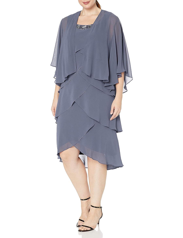Fashions Womens Plus Size Chiffon Tier Jacket Dress with Bead Neck S.L