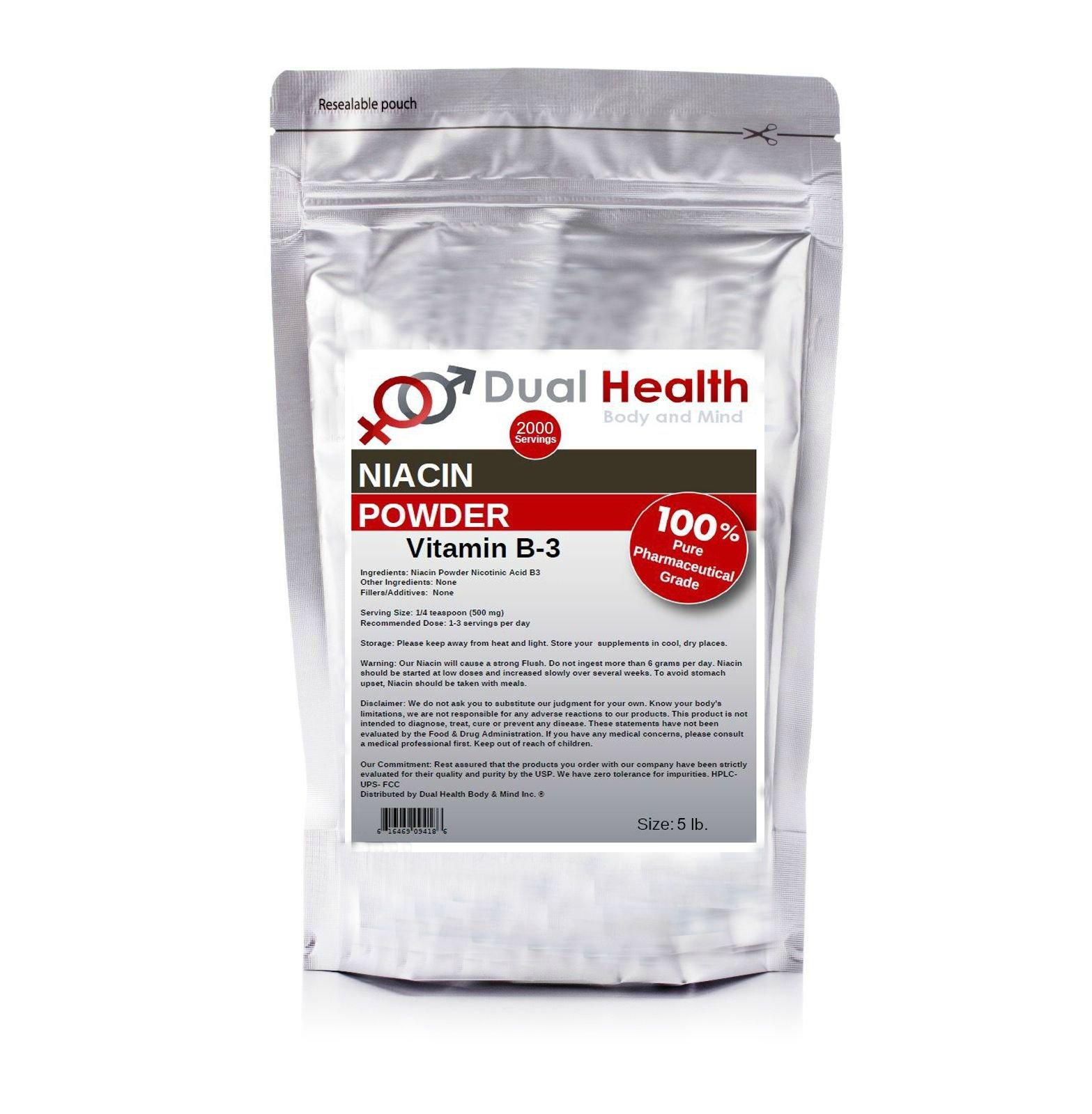 5 lb. Niacin Nicotinic Acid Powder (2.27kg) Vitamin B3 Lower Cholesterol Heart Health Pharmaceutical Micronized USP & FCC Food Grade By Dual Health