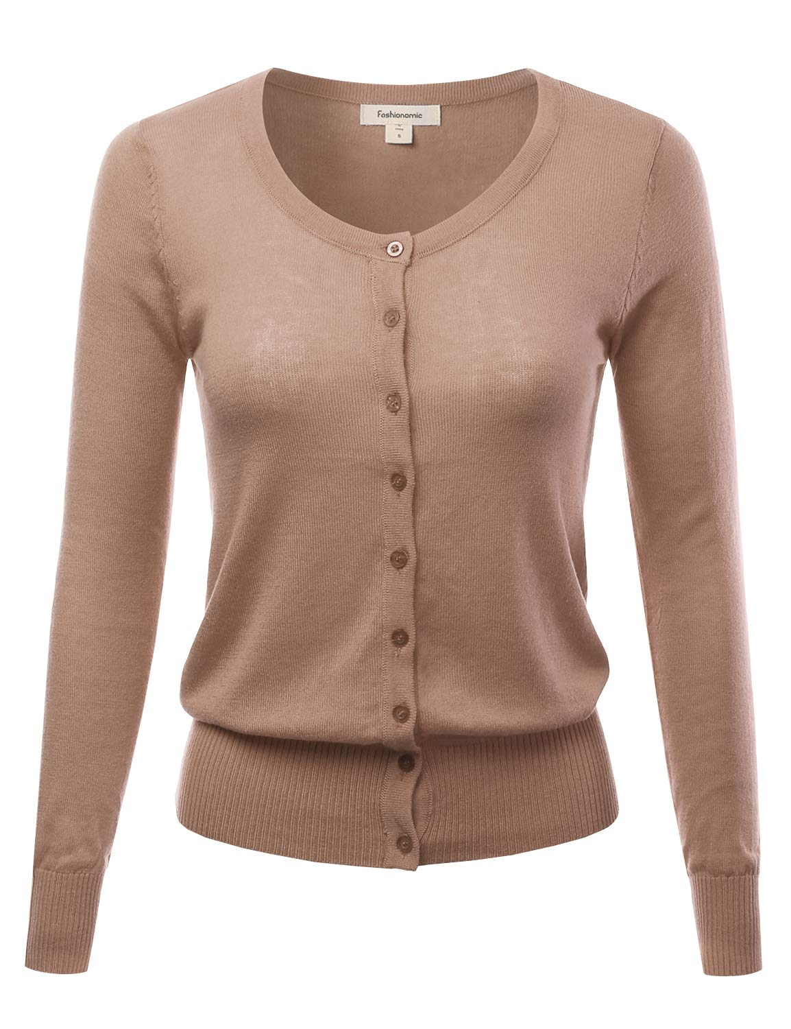 FASHIONOMIC Women's Button Down Crew Neck Light Weight Long Sleeve Knit Cardigan Sweater (S-70X) (CLLC001) Mocha 2X