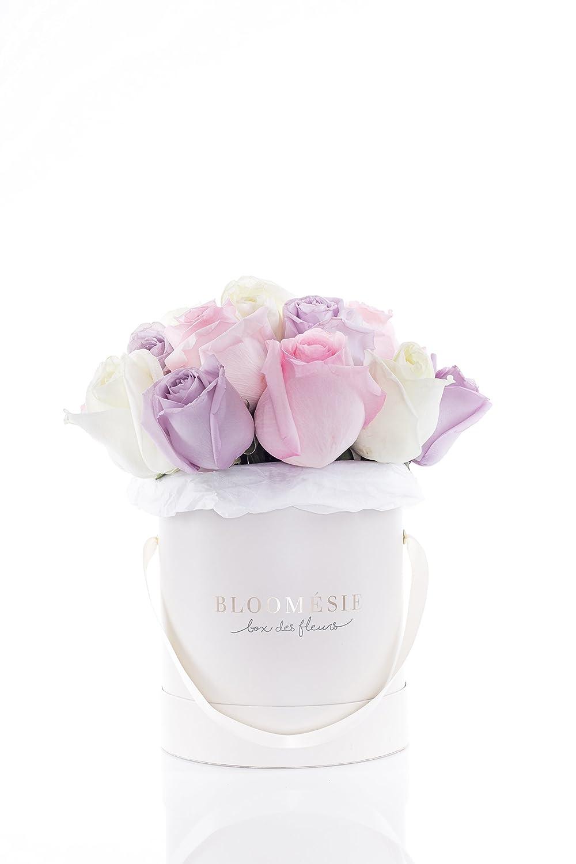 Bloomésie 15 hell bunt farbene Rosen als Geschenkidee für Geburtstag, Hochzeit, Muttertag oder als Dankeschön - Tendre Fleur de Favori Blumenstrauß aus der Box mit handgeschriebener Grußkarte