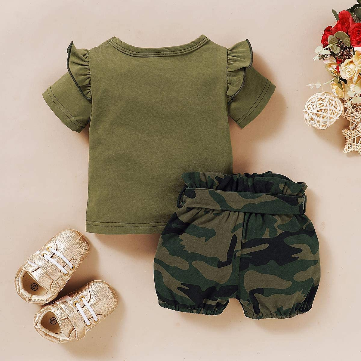 Skirt Headband 2pcs 3pcs Clothes Set FYMNSI Newborn Infant Baby Girl Camouflage Letter Print Summer Casual Outfit Romper Top