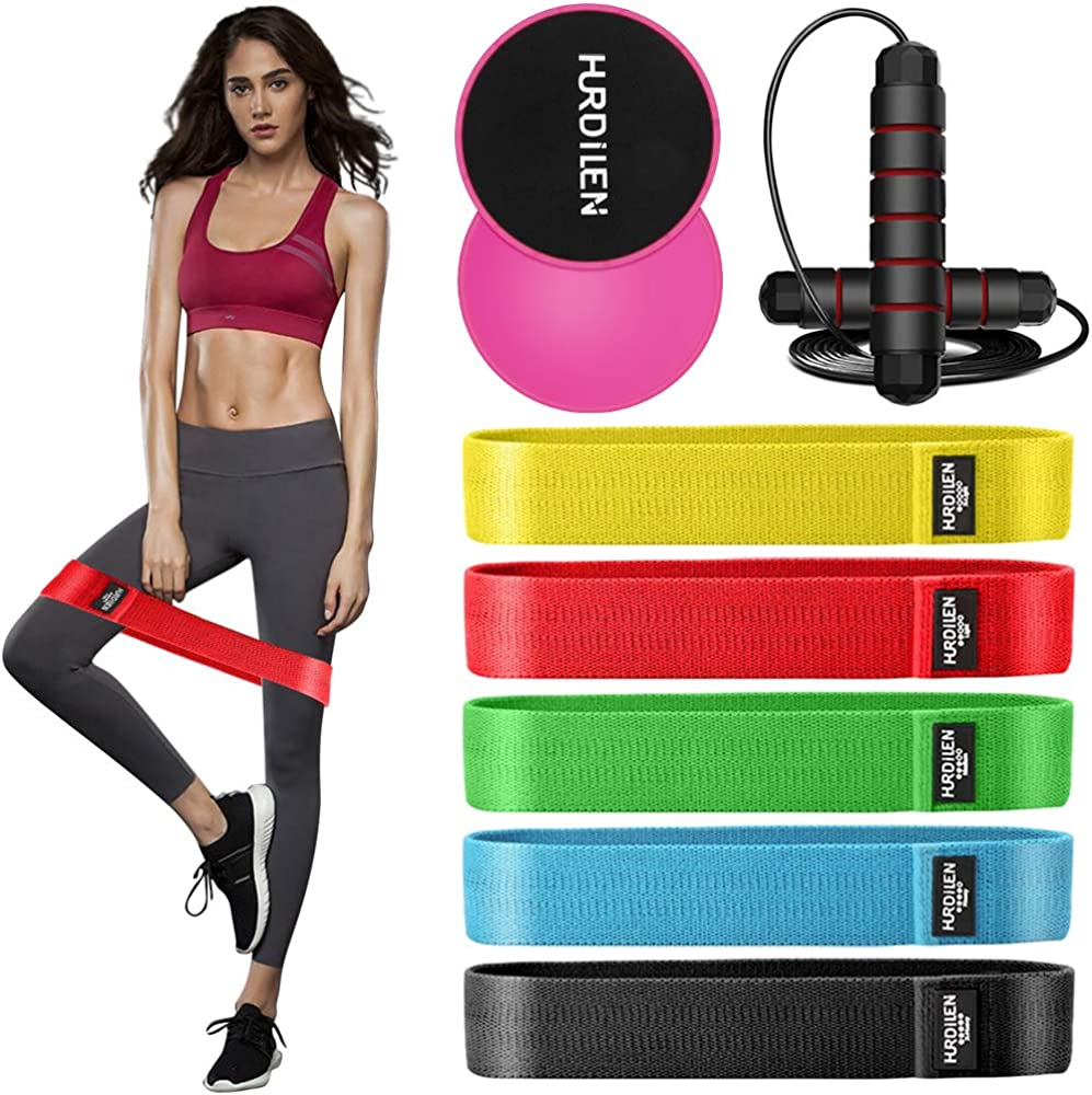 Hurdilen Resistance Bands,Mini Exercise Bands with 5 Resistance Levels,Anti-slip Loop Booty Bands for Full Body Workout,Pilates,Yoga,Home Fitness,Muscle Training,Physical Therapy,5 Set