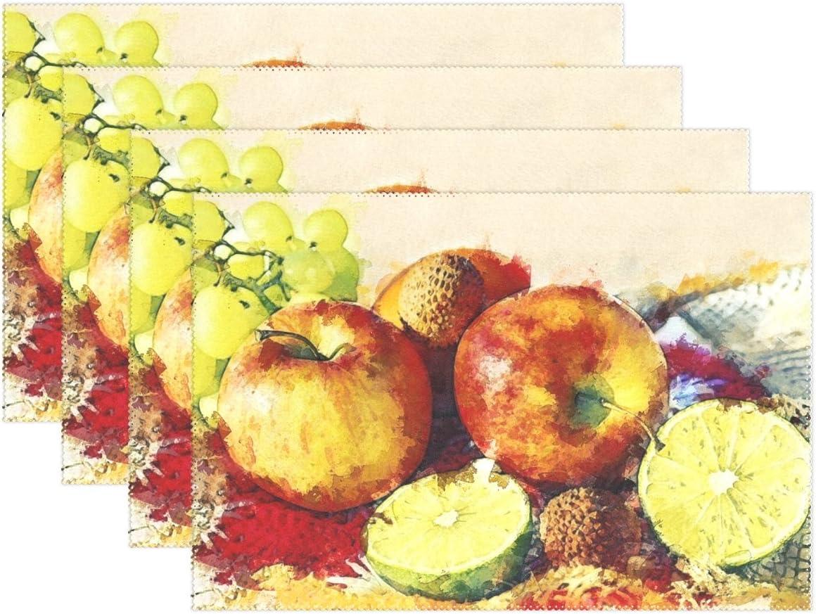 Juego de 4 manteles individuales de manzana para decoración de frutas y manzanas, resistentes al calor, resistentes a las manchas, duraderos, antideslizantes, para mesa de cocina, manteles individuales: Amazon.es: Hogar