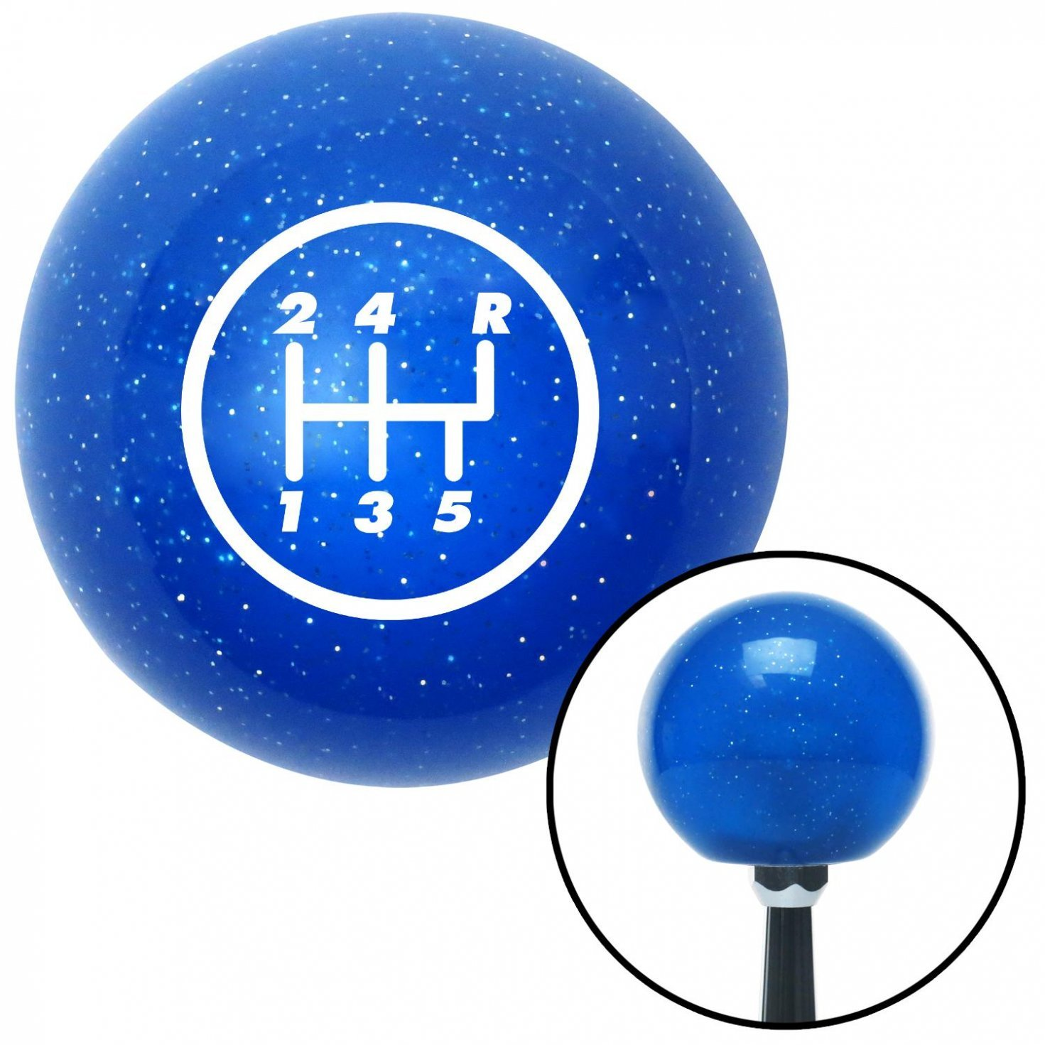 American Shifter 19623 Blue Metal Flake Shift Knob with 16mm x 1.5 Insert White 5 Speed Shift Pattern - 5RUR