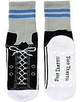 Ballet Slipper Non-Skid Slipper Socks by Foot Traffic - Size 4-1,(Grey/Blue/Black) Sneaker