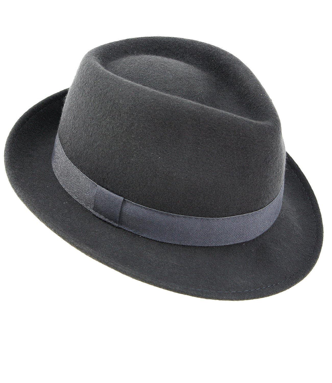 EveryHead Fiebig Cappello Di Feltro Da Uomo In Panama Cowboy Lana Tra Le Stagioni Bogart A Tinta Unita Con Fascia Costine Per Uomini (FI-30683-S17-HE1) incl Hutfibel