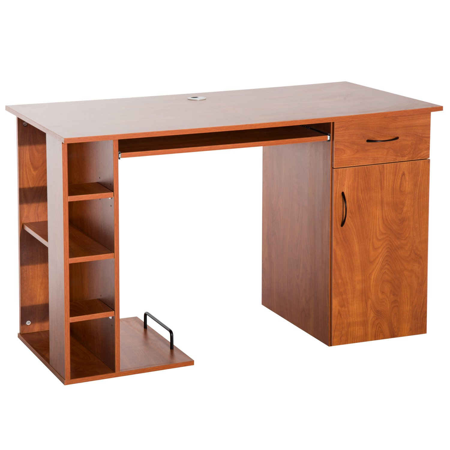 Amazon com homcom 47 compact wooden modern home office desk with storage shelves and cabinet brown golden oak kitchen dining
