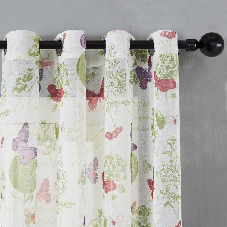 un Paneau /à Oeillets Top Finel Rideaux Voilages de Fen/être Papillon Fatastique pour Cuisine Salon Chambre,140cm x 215cm Blanc