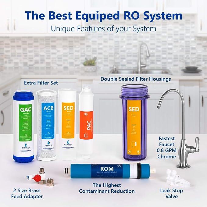 Express Water Sistema de filtración de agua de ósmosis 5 Etapa Ro ...