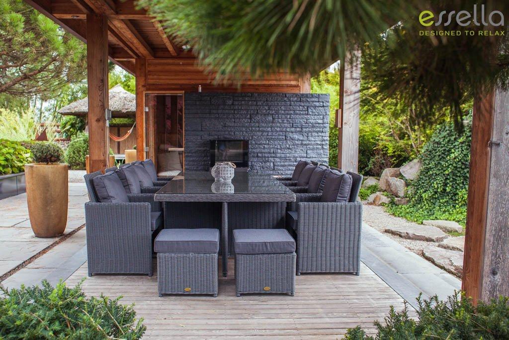 essella polyrattan essgruppe vienna 8er in grau meliert geflecht halbrund jetzt bestellen. Black Bedroom Furniture Sets. Home Design Ideas