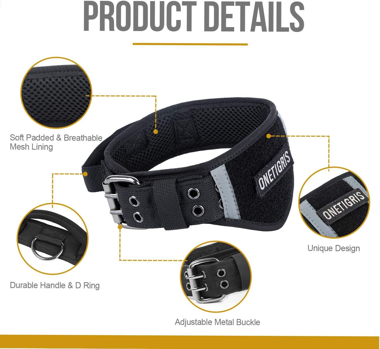 OneTigris Verstellbare Hundehalsband 07 Weiches Hundehalsband mit reflektierenden Streifen f/ür Hunde MEHRWEG Verpackung
