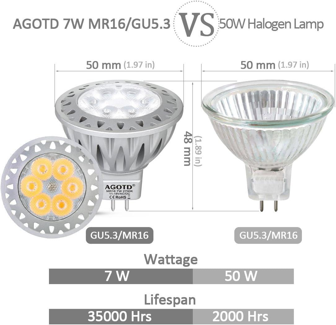 Lot de 10/Halog/ène//LED culot MR16/12/V Universel AP