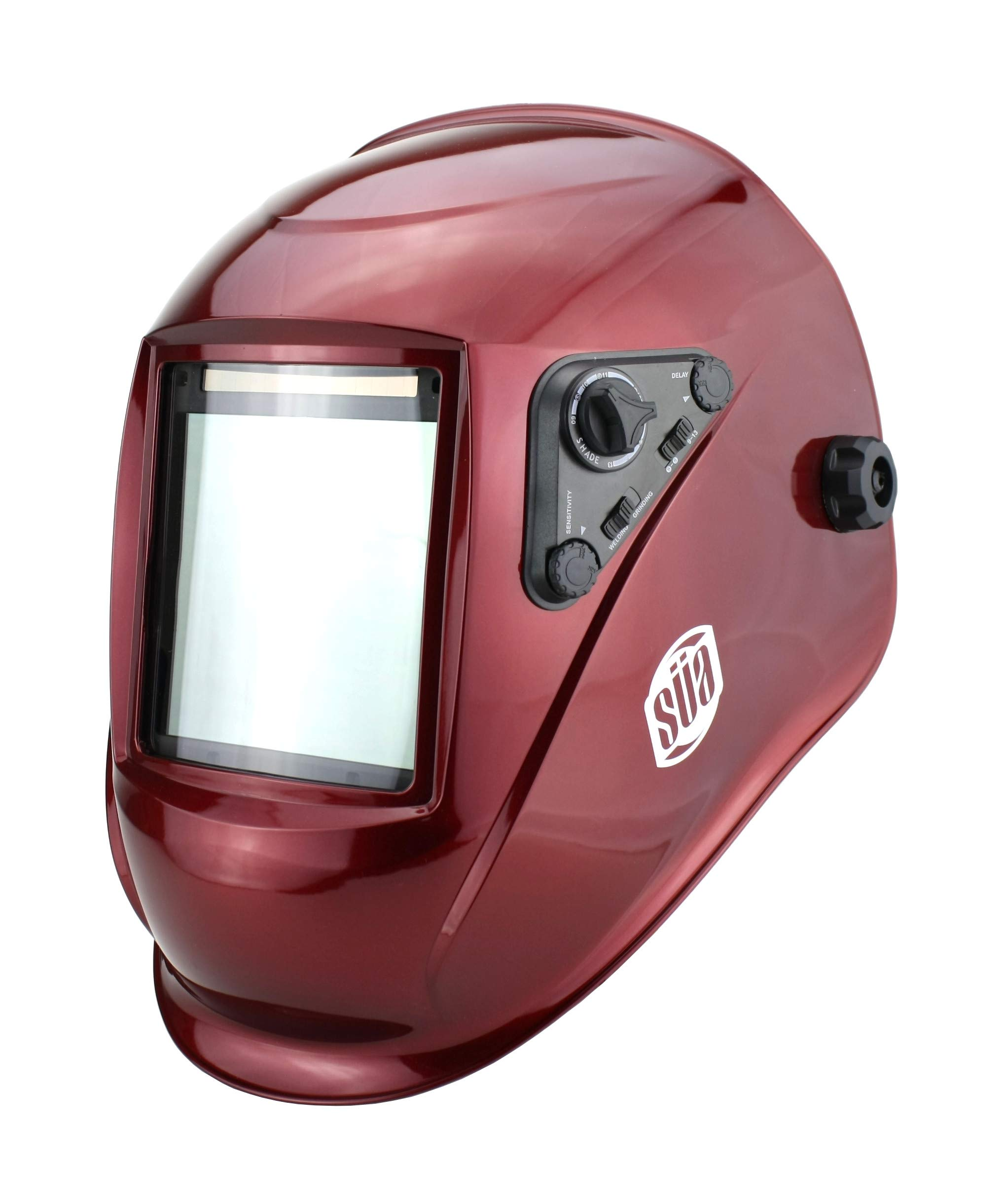 SÜA Welding Helmet - Model: Vector - Auto Darkening - Largest Viewing Area: 4'' x 4'' - Photovoltaic Powered - Ergonomic Headgear - Color: Red by SÜA