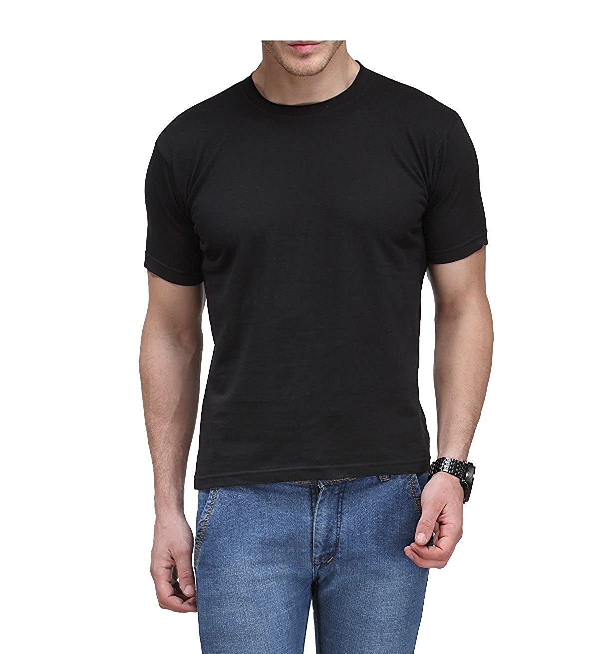 2c8573ddc Gagkac Men's Micro Polyester Dry Fit Round Neck Half Sleeve Plain X-Large  GE-BLK3 Black T-Shirt: Amazon.in: Clothing & Accessories