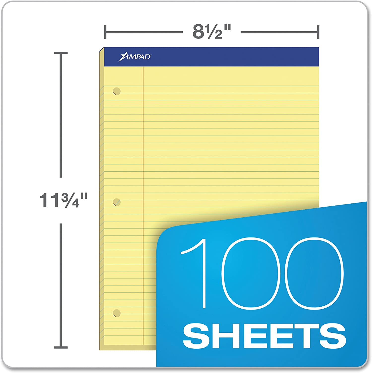 Ampad Evidence Pad Size 8.5 x 11.75 Inches 20-223 Dual College Ruled Canary Paper 100 Sheets Per Pad