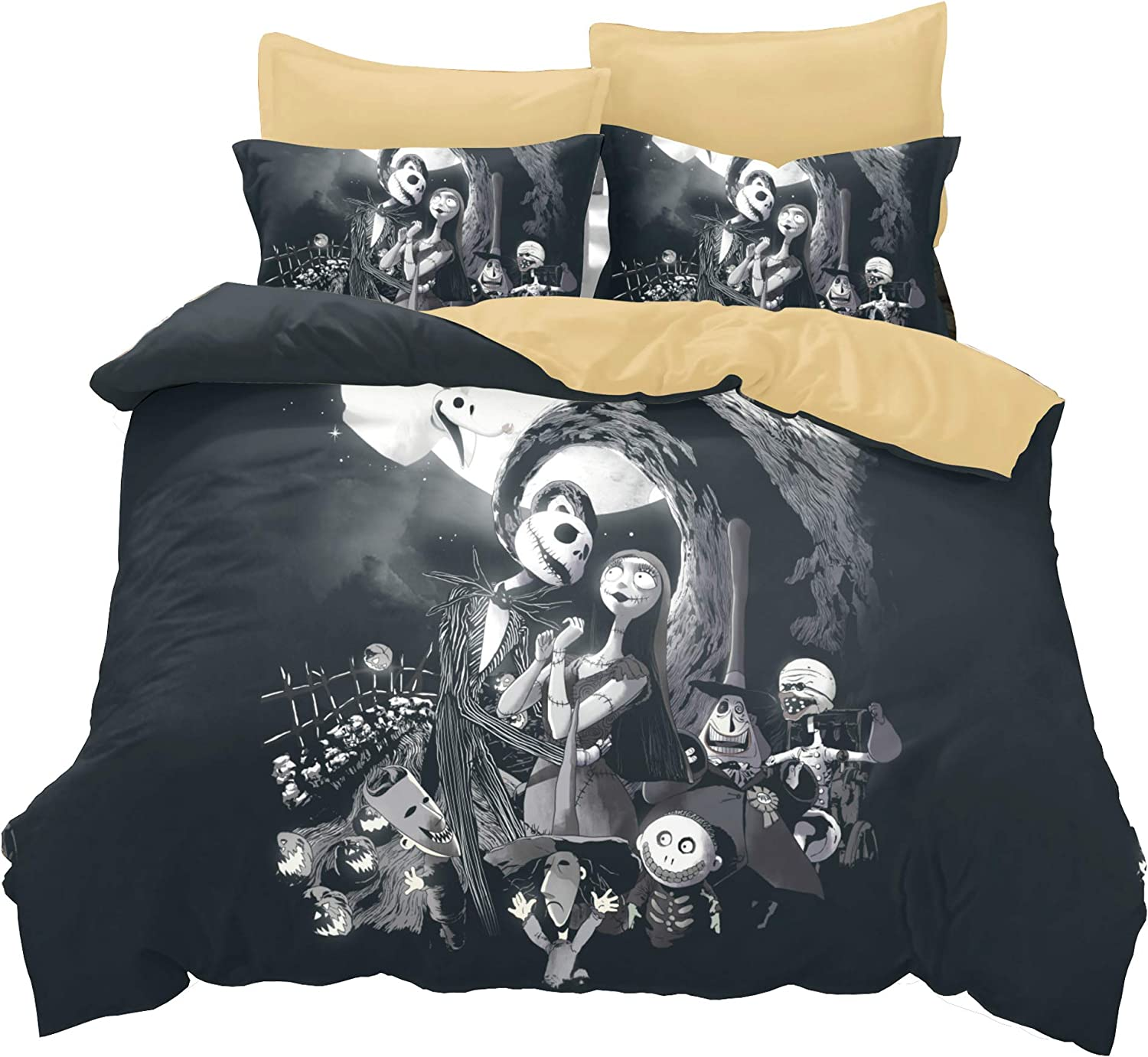 KTKRR Christmas Duvet Cover Set (no comforter),Scarecrow Style Nightmare Before Christmas 3pc Bedding Set, Duvet Cover with Pillowcase Gift 3D Terrorist Design (QUEEN, Black Christmas)