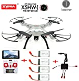 Togather® Syma X5HW FPV explorateurs 2,4 Ghz 6 axes Gyro RC Headless Quadcopter Drone UFO avec Wifi Camera(Best News extra 4pcs 500mah batteries and 1pcs Charger and 4pcs balancing cable for your replacement)