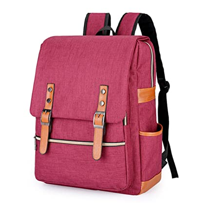 Amazon.com: Vintage Men Women Canvas Backpacks For Teenage Girls School Bags Large Laptop Backpack Mochilas Fashion Men Backpack Pink 15Inch 30X40X12Cm: ...