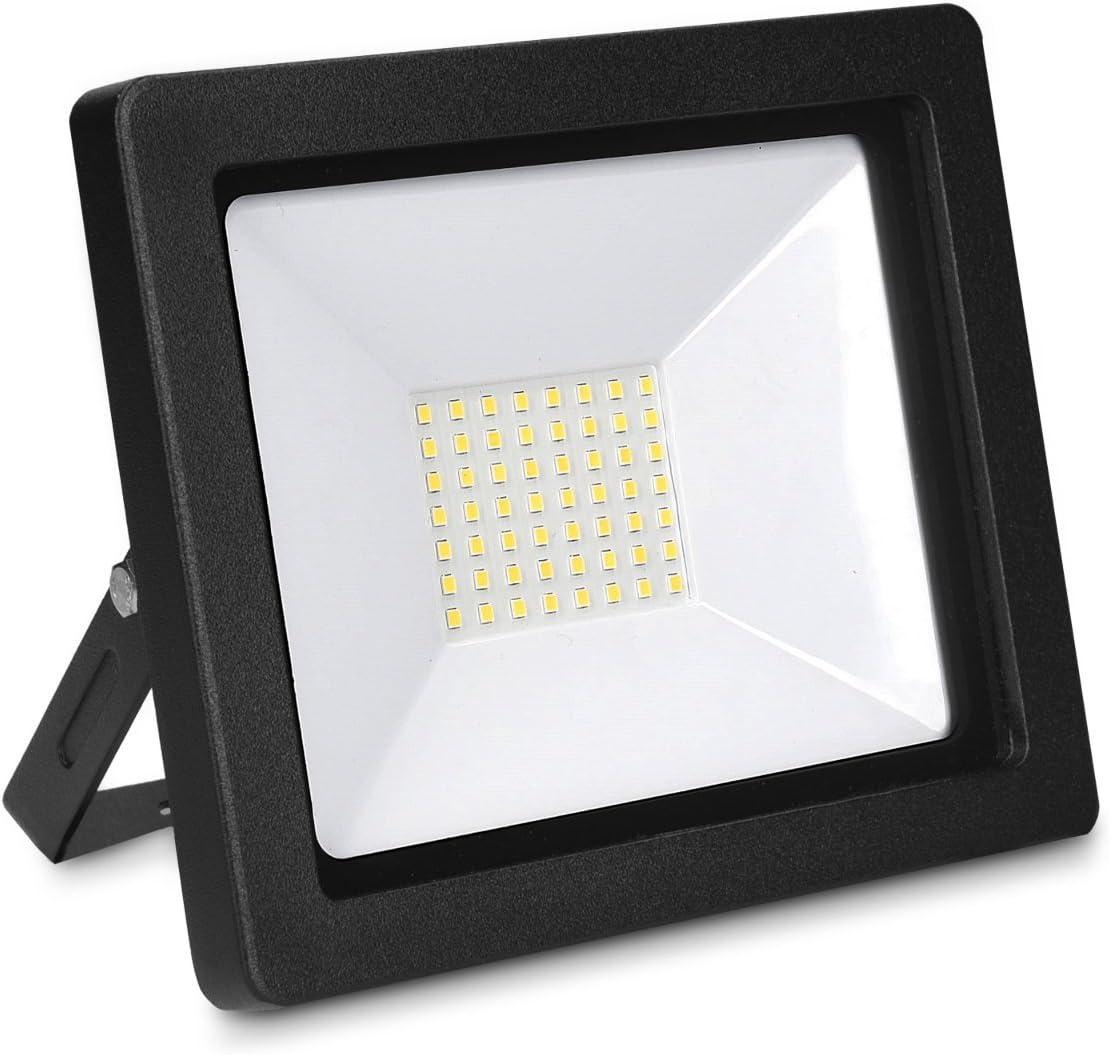 Garten Scheinwerfer LED-Strahler kwmobile 2x LED Flutlicht Baustrahler 20W Baustellen Lampe Arbeitsleuchte Strahler mit 3m Netzkabel und Stecker