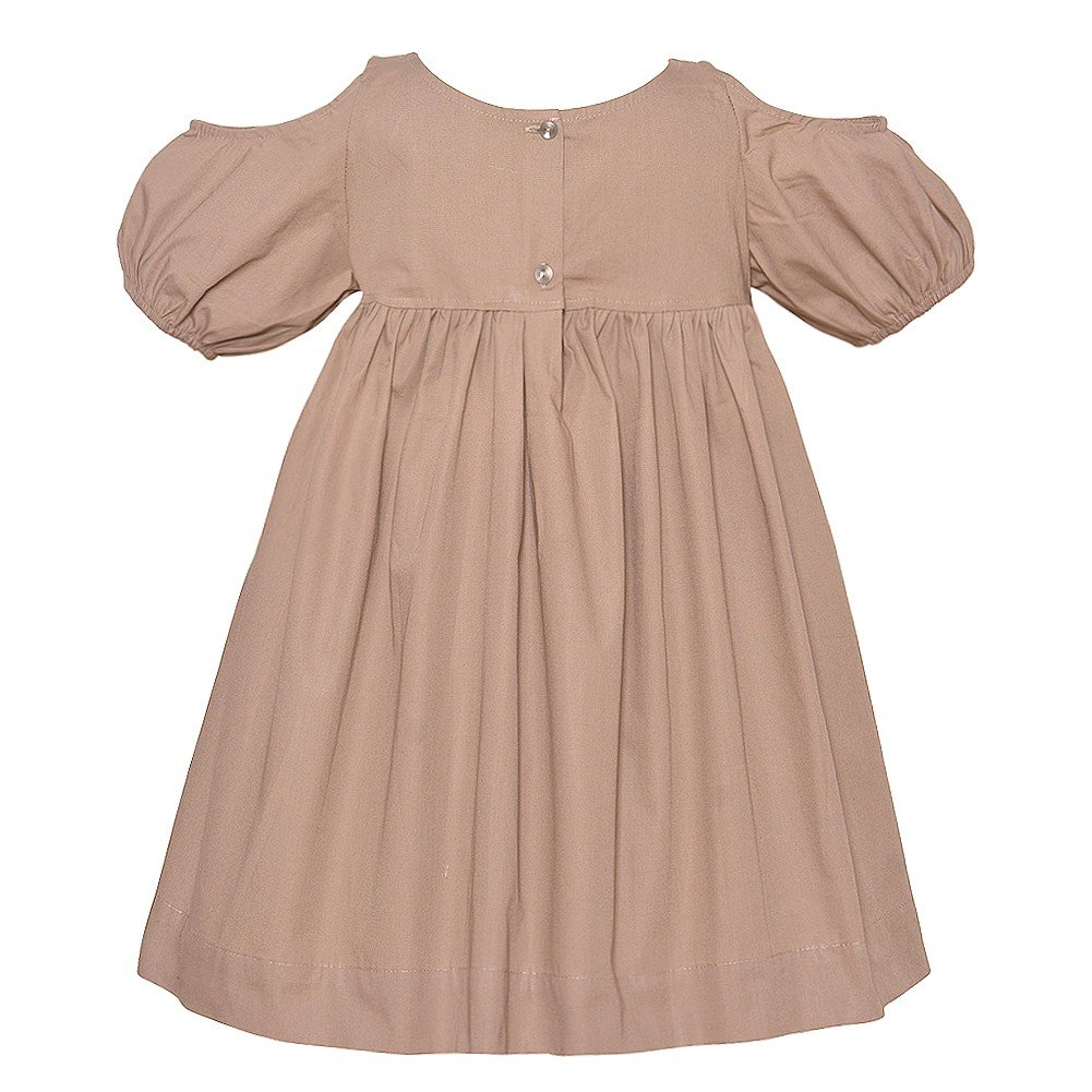 a87fd3ead41e4 Amazon.com  Lele for Kids Little Girls Khaki Cold Shoulder Puff Sleeve  Gathered Dress 2T-6  Clothing