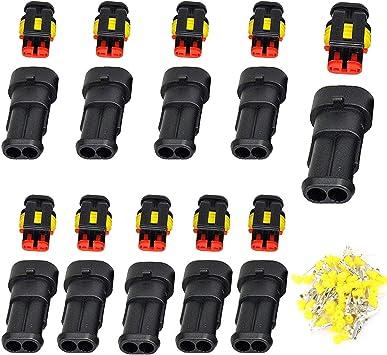 Mwohn Auto Wasserdichter Elektrischer Steckverbinder 10 Set 2 Poliger Stecker Steckverbinder Pa66 Nylon Steckdose Set Für Auto Lkw Boots Und Andere Kabelverbindungen Auto