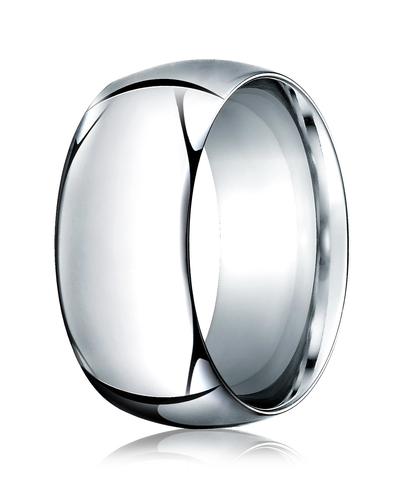 Mens 14K White Gold, 10.0mm High Dome Heavy Comfort-Fit Ring (sz 10)