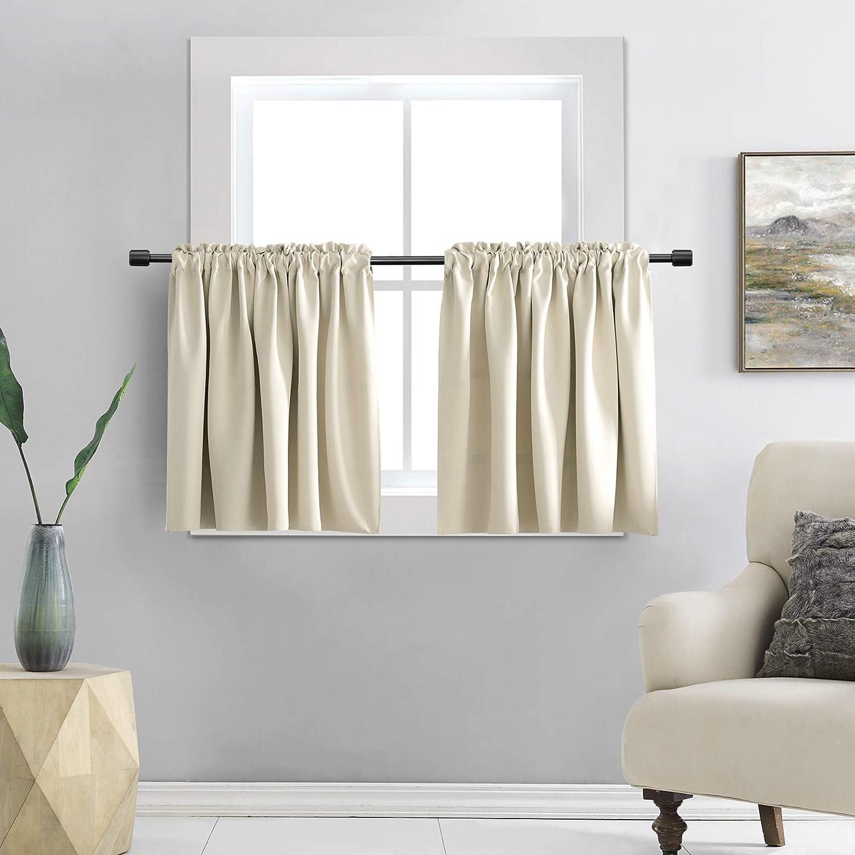 DONREN 24 Inch Length Curtain Tiers-Room Darkening Rod Pocket Small Curtains for Small Window (42 W x 24 L,2 Panels,Cream Beige)