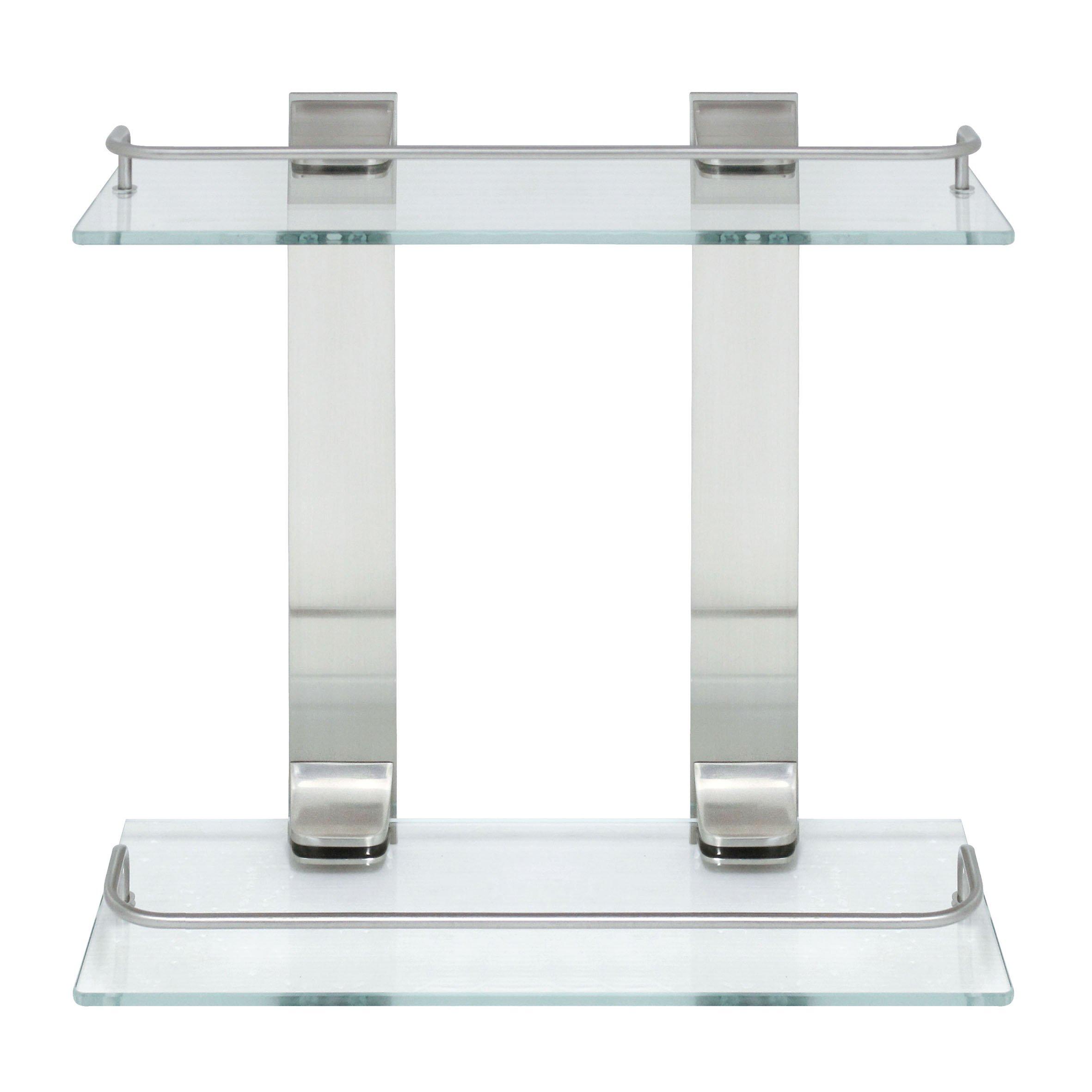 MODONA Double Glass Wall Shelf with Rail – Satin Nickel – 5 Year Warrantee