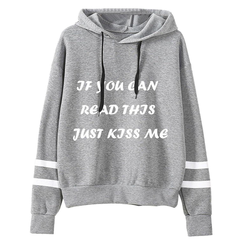 """Bestpriceam """"Just Kiss Me"""" Women Long Sleeve Hoodie Sweatshirt Hooded Coat Pullover"""