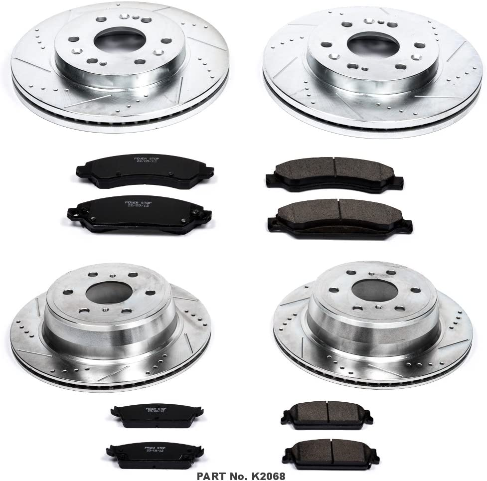 Power Stop K2068 Front//Rear Ceramic Brake Pad and Cross Drilled//Slotted Combo Rotor One-Click Brake Kit