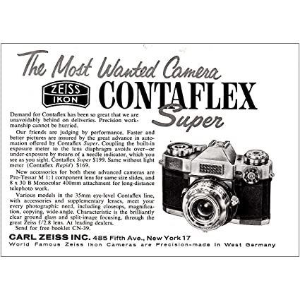Amazon com: RelicPaper 1960 Zeiss Icon Contaflex Super
