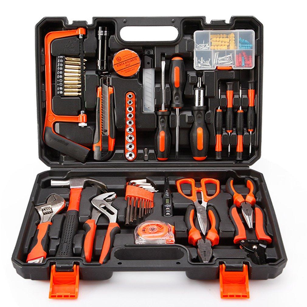ZXZ-GO Kit de herramientas, herramientas de precisión Juego de herramientas para el hogar casero de 102 piezas con alicates y martillo en estuche - Grandes ...