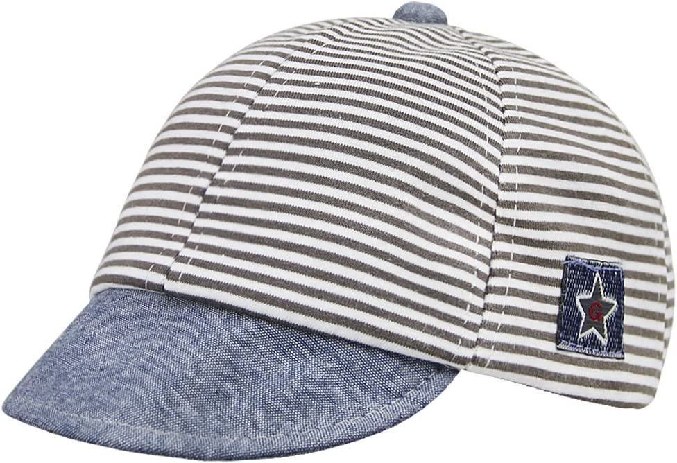 Kids Baby Classic Stripe Hat Baseball Cap Toddler Infants Pure Cotton Hat Adjustable Peaked Cap Sun Protection Hat Summer Headwear for 3-12 Months Kids