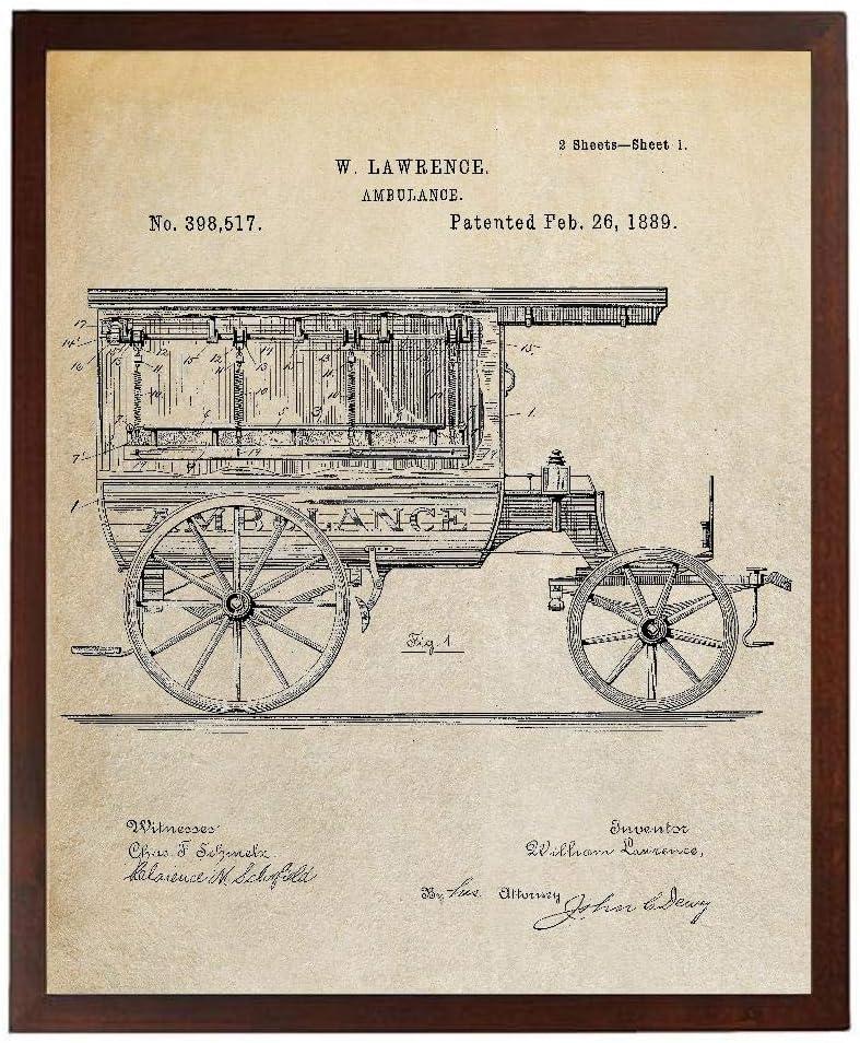 Turnip Designs Ambulance Patent Vintage Ambulance EMT Wall Art Decor Emergency Vehicle Ambulance Firefighter TDP1013