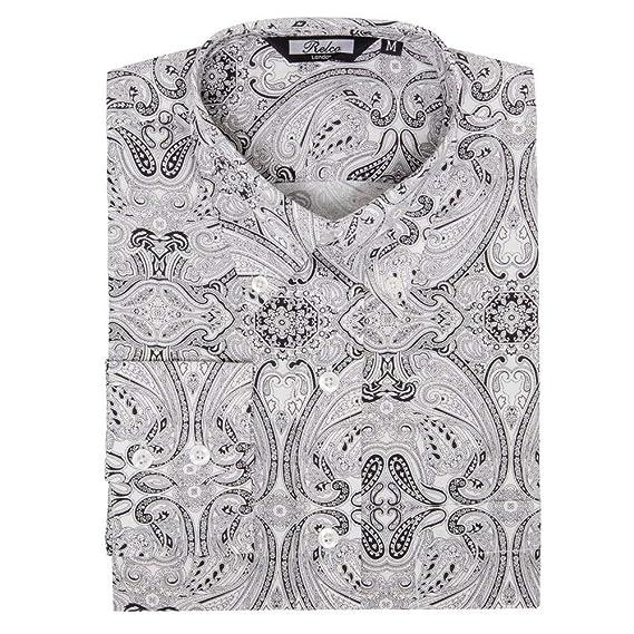 06e2072c9c5 Relco Mens Black   White Paisley Print Shirt New Long Sleeved Button Down  Collar  Amazon.co.uk  Clothing
