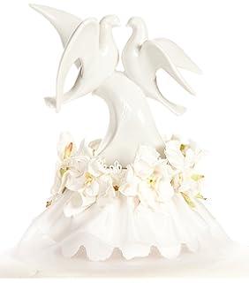 Amazon.com: Doves Porcelain Wedding Cake Topper Caketop: Kitchen ...