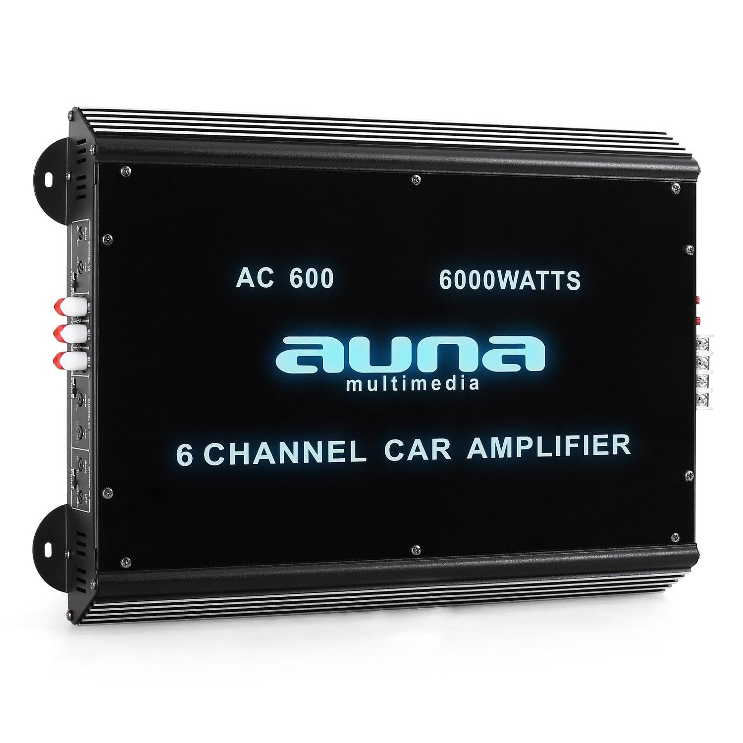 auna W2-AC200 2-Channel Car Amplifier High Performance (2000W Max, Adjustable Low-Pass Filter, Blue LED Lights) Black