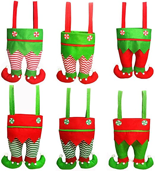 Christmas Santa Pants Elf Spirit Candy Gift Bag Sweet Sack Gift Stocking  IT