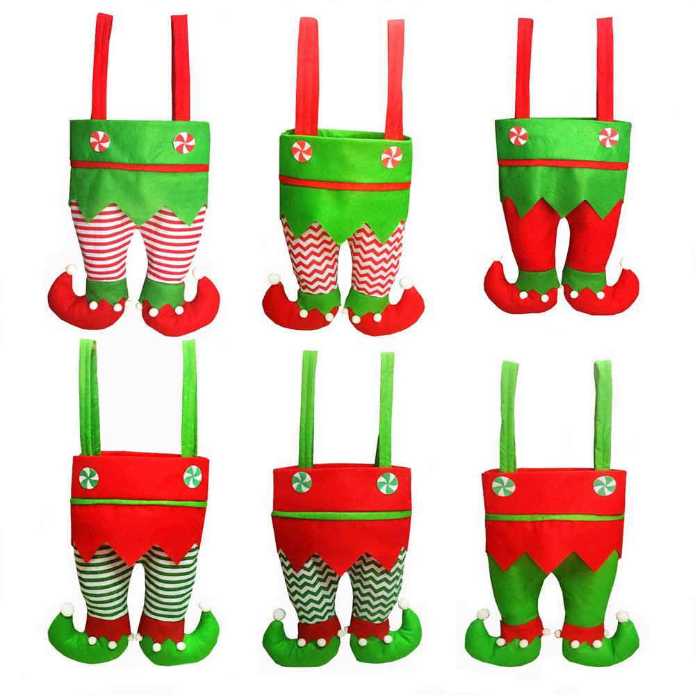 Honeystore Christmas Elf Boots Candy Cookie Gift Bag Sack Stocking Filler Xmas Party Decoration Sack-Pack of 6