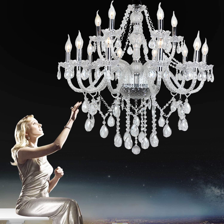 6 flammig Transparent Kristall Klassisch Kronleuchter Pendelleuchte Deckenleuchte antik Kristall L/üster E14 H/ängeleuchte
