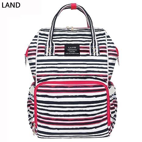 Image Unavailable. (WHIITEBLACK)LAND Upgraded Fashion Mummy Backpack Baby  Diaper Bag Newborn Nappy Shoulder(WHIITEBLACK 0cf2e05ff88aa