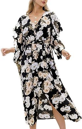 UK Boho Womens V Neck Floral Slit Holiday Ladies Summer Long Maxi Wrap Sun Dress