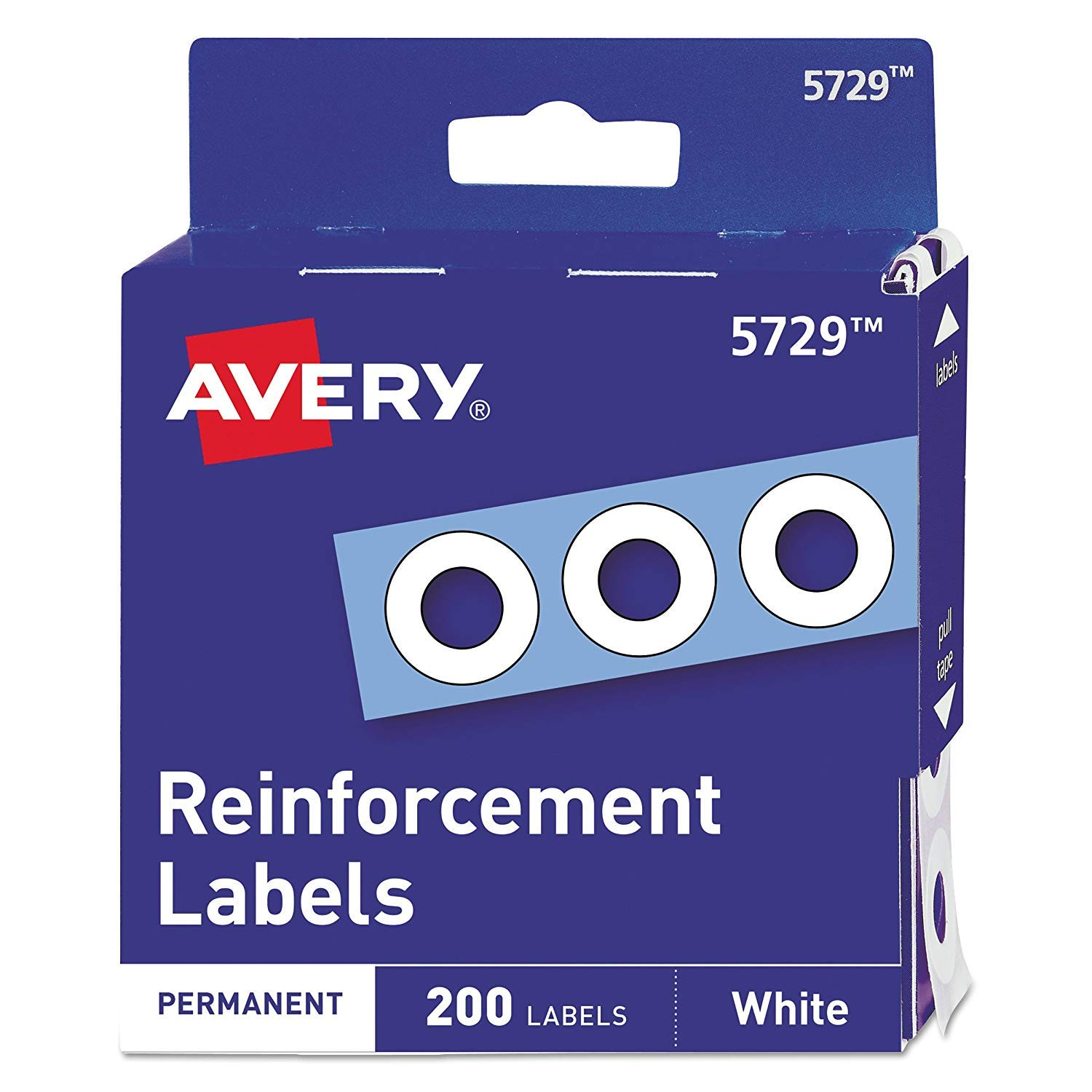 05729 Dispenser Pack Hole Reinforcements, 1/4'' Dia, White, Pack of 20, 4000 Labels Total by Avery
