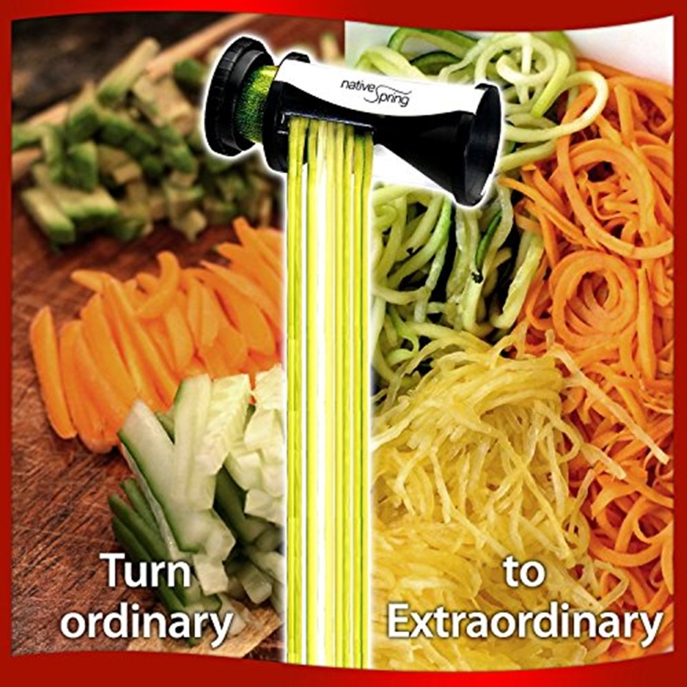 Spiral vegetable slicer hand held with cleaning brush zucchini and - Amazon Com Spiral Vegetable Slicer Hand Held With Cleaning Brush Zucchini And Carrot Veggie Pasta Maker Kitchen Dining