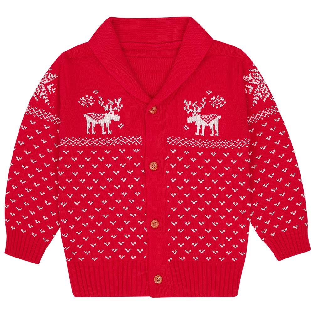SANMIO Toddler Baby Boys Girls Deer Christmas Cardigan Sweater Button-up Cotton Coat Red by SANMIO