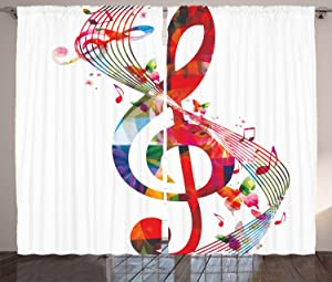 "Ambesonne Music Curtains, Artwork with Musical Notes Rhythm Song Ornamental in Vibrant Colors Fantasy Theme, Living Room Bedroom Window Drapes 2 Panel Set, 108"" X 84"", White Red"