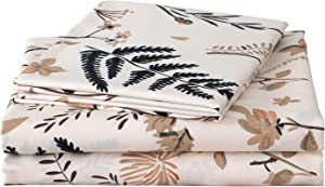 """JSD Leaves Floral Print Sheets Set Queen, 4 Piece Ultra Soft Warm Double Brushed Microfiber Hypoallergenic Fitted Sheet 15"""" Extra Deep Pocket"""